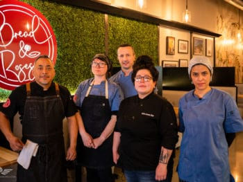 Chef Israel Lona (far left) with Kitchen Crew